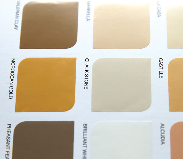 Paint sample chips on a colour card